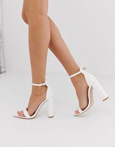 Public Desire Miao white patent block heeled sandals | ASOS Pumps Heels, Stiletto Heels, Heeled Sandals, Strappy Sandals, Shoes Sandals, White Wedding Shoes, Sandals Wedding, Wedding Heals, Wedding Shoes Block Heel