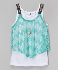 great find on #zulily! Green Tribal Tank Set by Beautees #zulilyfinds
