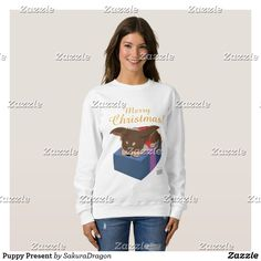 Puppy Present Sweatshirt #dogs #chihuahua #christmas #pets #animals