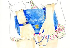 Hey, I found this really awesome Etsy listing at https://www.etsy.com/listing/162588078/blue-chanel-flap-handbag-watercolor