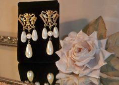 Vintage Avon Royal Crest Faux Pearl Dangle Pierced by clara427, $10.00