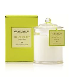 Glasshouse Candle in Montego Bay Coconut & Lime - its a tropical holiday in a jar, perfect for summer
