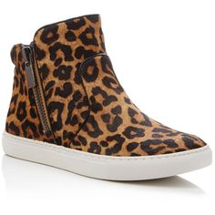 Kenneth Cole Kiera Leopard Print High Top Sneakers (2,860 MXN) ❤ liked on Polyvore featuring shoes, sneakers, natural, leopard calf hair shoes, leopard shoes, leopard high tops, calf hair shoes and hi tops