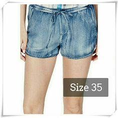 """JustFab Racer shorts in distressed blue. Very soft and lightweight fabric. Elasticated waist for easy fit, slit pockets upfront, one back pocket, and drawstring for added comfort.The fabric is chambray, distressed look is a print. Pull on construction. Relaxed fit.   Details: waist 36"""", inseam 2"""", front rise 11-1/2"""", back rise 14-1/2"""", 50% cotton, 50% viscose.  Please use only ✔OFFER  button for all price negotiations. I'll do a price drop⤵ for you for discounted shipping, if we agree about…"""