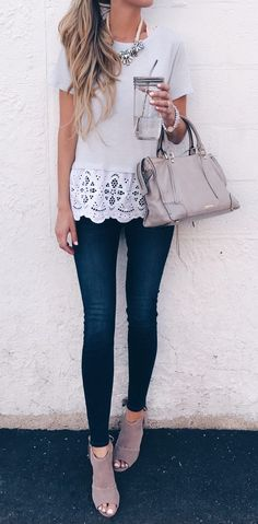 august instagram round-up - eyelet hem tee and skinny jeans outfit