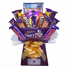 Shop for Cadbury Variety Chocolate Bouquet - Sweet Hamper Tree - Perfect Gift. Starting from Choose from the 2 best options & compare live & historic grocery prices. Chocolate Tree, Cadbury Chocolate, Chocolate Gifts, Chocolate Cakes, Sweet Hampers, Gift Hampers, Gift Baskets, Valentines Day Chocolates, Valentine Chocolate