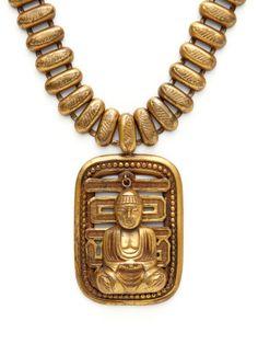 Joseff Buddha Charm & Cutout Symbol Pendant Necklace by House of Lavande on Gilt.com