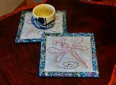 Dragon fly hand quilted mug rug