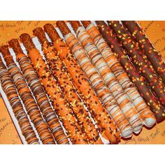 Gourmet Chocolate Covered Pretzel Rods for Fall Autumn ($12) ❤ liked on Polyvore featuring home and kitchen & dining
