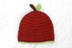Red Apple Crochet Baby Hat // Fall Photo Prop by lauraanncrochet, $15.00