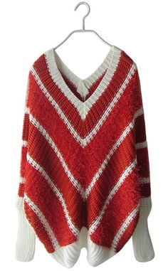 Red Batwing Long Sleeve Striped Pullovers Sweater