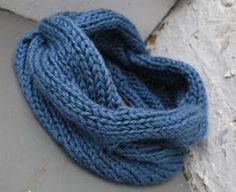 Blue Afternoon Cowl, big thick chunky cables and soft yarn.  Free pattern and child's version, too.
