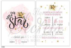 Προσκλητήρια βάπτισης για κορίτσια της Lavly με χρυσό αστέρι, annassecret,
