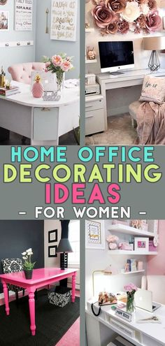 On a budget? Look at these home office ideas for women who work from home (or want to). Home office desk ideas, designs and layouts, small home office ideas for decorating small spaces with a feminine Home Office Setup, Home Office Organization, Office Decor, Office Ideas, Desk Ideas, Office Inspo, Small Space Office, Home Office Space, Home Office Desks
