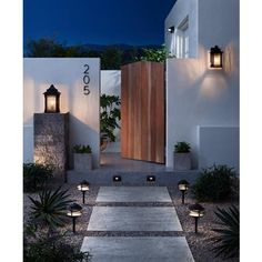 It's Dark Sky Week! And light pollution is totally a thing. Light up the night the right way with energy-saving LEDs and shielded lights. Concrete Patios, Modern Landscaping, Backyard Landscaping, Br House, Garden Design, House Design, Fence Design, Backyard Patio Designs, Modern Backyard Design