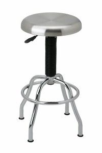 """Stainless Top, pneumatic bar stool from Seville Classics. Features: Dimensions: 19"""" diameter base x 25.5"""" to 29.75"""" high 14"""" diameter brushed stainless steel seat (swivels 360 degrees) Pneumatic ac..."""