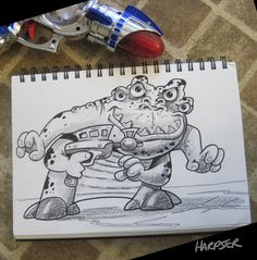I just love drawing monster and aliens. http://www.harptoons.com