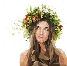 Marina Makeeva Design, poly art. Vector portrait.