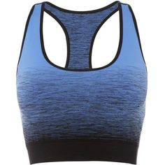 Pepper & Mayne - Compression Bra Fra Angelico Blue ($67) ❤ liked on Polyvore featuring activewear, sports bras, compression sports bra, logo sportswear, blue sports bra, racer back sports bra and racerback sports bra