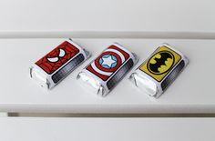 Superhero Collection (Spiderman Batman Capt America). Mini Candybar Wrappers. DIY Printable Design. Pinkadot Shop. $6.00, via Etsy.
