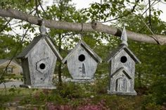 Mitchell Wood Birdhouses- Set of 3/www.abitofdecor.com