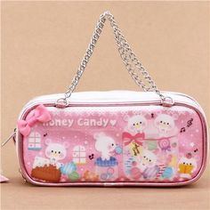 kawaii white and pink metallic glitter bear candy pouch pencil case from Japan 1