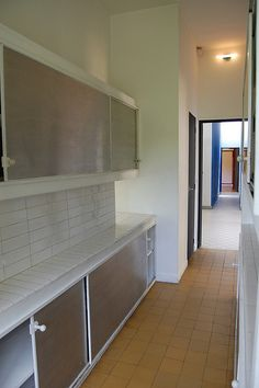 Le Corbusier's astounding bathroom with the built in tile ...Villa Savoye Kitchen