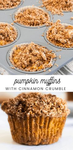 Pumpkin muffins with coconut flour and cinnamon crumb topping. Healthy pumpkin muffins recipe, paleo approved, gluten-free, dairy free, and refined sugar free. #pumpkinmuffins Paleo Pumpkin Muffins, Pumpkin Muffin Recipes, Cinnamon Recipes, Healthy Muffins, Healthy Sweets, Healthy Dessert Recipes, Healthy Baking, Paleo Recipes, Brunch Recipes With Pumpkin