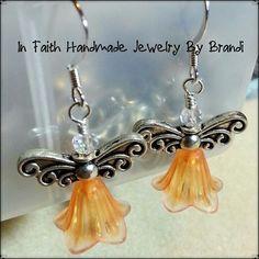 Silver & lucite angel earrings