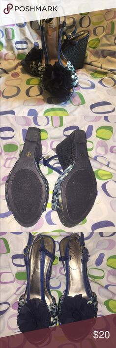 a.n.a Navy blue and turquoise cheetah print wedges a.n.a Shoes Wedges