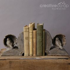 Resin Bookends w/ Birds & Books ★ Creative Co-Op Home