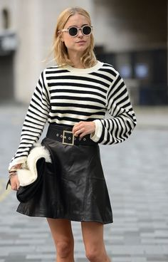 black leather skirt striped sweater street style