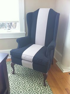 Striped chair w paterned rug