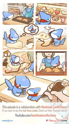 Cookie (with Montreal Confections) by Vress-shark on DeviantArt Cute Funny Animals, Cute Baby Animals, Funny Cute, Cute Kawaii Drawings, Cute Animal Drawings, Illustration Kawaii, Pet Shark, Dibujos Cute, Cute Cartoon