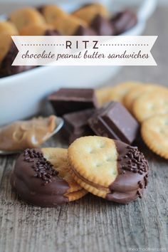 Ritz Chocolate Peanut Butter Sandwiches -a quick and delicious snack idea! The perfect combination of sweet and salty!