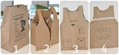 DIY Safari Guide vests - could use them as Girl Scout vests??   Or... only cut the top portion of the bag, draw design and use to deliver GS cookies.