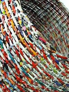 makkireQu basket made by Magdalena Godawa.....made from candy wrappers