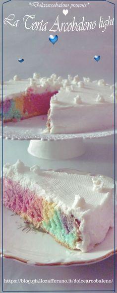 La torta arcobaleno light è facile e veloce da preparare, soffice come una nuvola per trasportarci in un magico mondo colorato fatto di tanta dolce bontà.