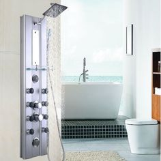 "Goplus 46"" Bathroom Aluminum Shower Panel Thermostatic Tower w/ 10 Massage Jets #Goplus"