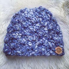 Crochet beanie chunky blue yarn warm winter hat toque Christmas gift women for sale buy etsy $25
