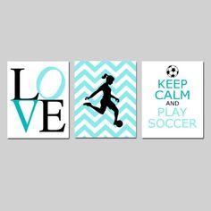 Soccer Art Girl Bedroom Decor Soccer Wall Art Girl Set By Tessyla