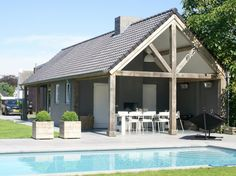 Pool House Cottage with outdoor dining Outdoor Dining, Outdoor Spaces, Outdoor Decor, Laundry Craft Rooms, Weekend House, Beautiful Pools, Outside Living, Metal Homes, Types Of Houses