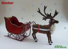 Dollhouse Miniature Christmas Reindeer and Sleigh OOAK - Malinik Miniatures