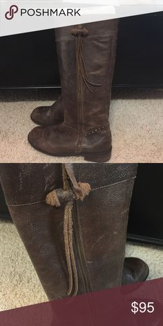 Anthropologie brown boots Tall brown boots with external zipper with tassels (one tassel is partially torn). Hardly worn because I bought a size too small. Shown with foam molds inside to keep them upright :) Anthropologie Shoes Winter & Rain Boots