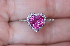 Pink Sapphire Diamond Heart Ring. Im so in love with this