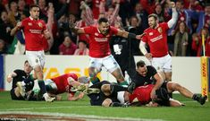 Joy is etched on the faces of the Lions players as O'Brien rounds off an astonishing move . British And Irish Lions, New Zealand, Faces, Joy, Glee, The Face, Being Happy, Face