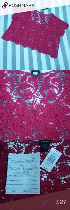 Torrid lace valentines magenta pink crop top Beautiful lace crop top by Torrid.  SIZE 1.  Brand new with tags.  Please see photos for measurements. torrid Tops Blouses