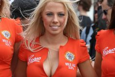 Sexy Coopers paddock grid babes close up photo of blonde pitgirl
