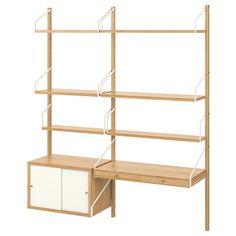 "SVALNÄS Wall-mounted workspace combination, bamboo, white, 59x13 3/4x69 1/4"" - IKEA Desk Shelves, Wall Mounted Shelves, Garage Shelving, Shelving Systems, Svalnäs Ikea, Desks Ikea, Hemnes Shoe Cabinet, Door Desk, Etagere Design"