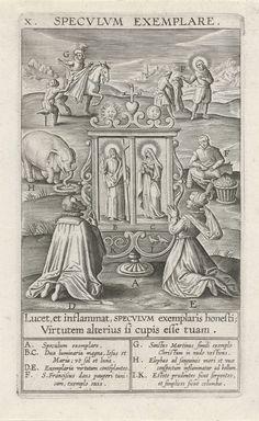 Theodoor Galle | Spiegel van het voorbeeld, Theodoor Galle, Jan David, 1610 | Op de voorgrond twee gelovigen. Ze knielen voor een spiegeldiptiek, die de reflectie van Christus en Maria toont. In de achtergrond toonbeelden van devotie: de heilige Maarten en de heilige Franciscus die hun mantels aan bedelaars geven en een olifant als teken van wijsheid.. De prent heeft een Latijns onderschrift: 'Lucet, et inflammat, Specvlvm exemplaris honesti; Virtutem alterius si cupis esse tuam'. Onderaan…